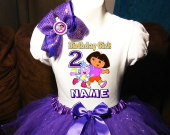 eb301167 Dora the Explorer Dress ++NAME++ 2nd Second 2 birthday Shirt Personalized 2  Pc birthday Tutu party outfit PURPLE Fast shipping