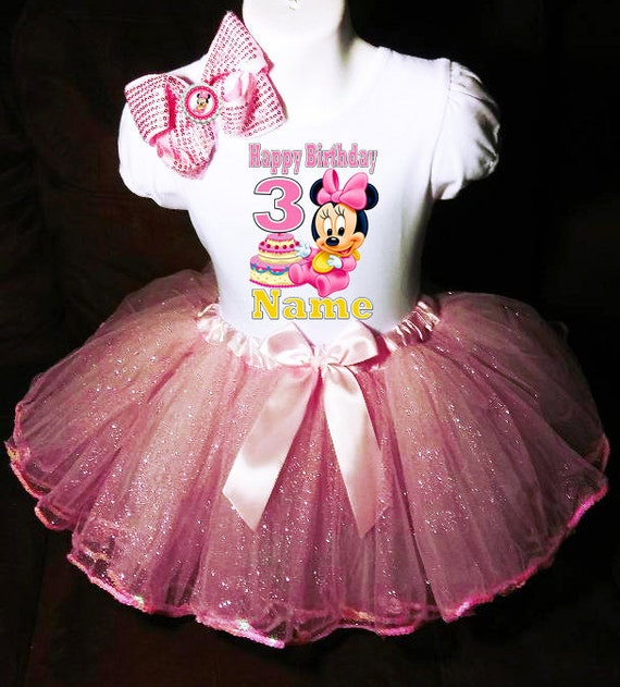 Minnie Mouse **With NAME** 3rd Third 3 Baby Pink Tutu Dress Fast Shipping