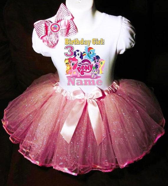 -With NAME- My Little Pony 2nd Birthday Dress shirt 2pc purple Tutu outfit