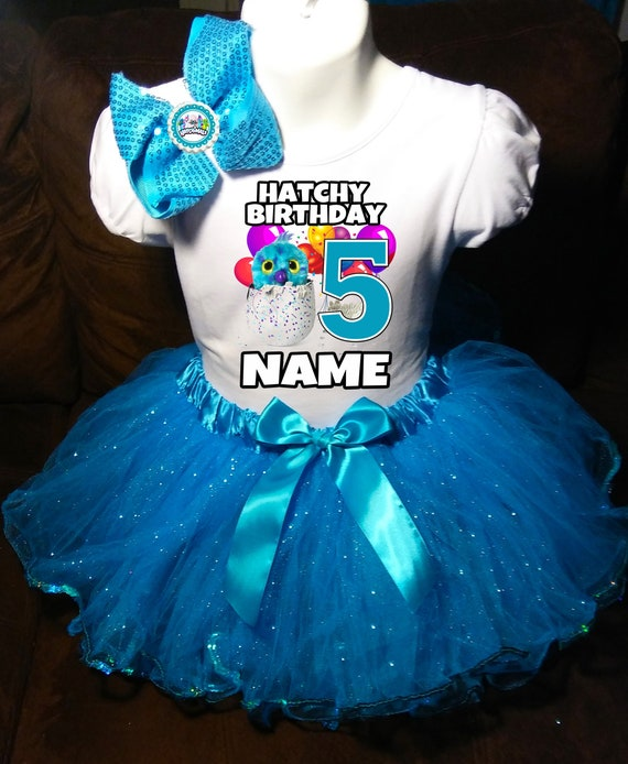 Hatchimals **With NAME** 5th Fifth 5 Birthday Purple Tutu Dress Fast Shipping