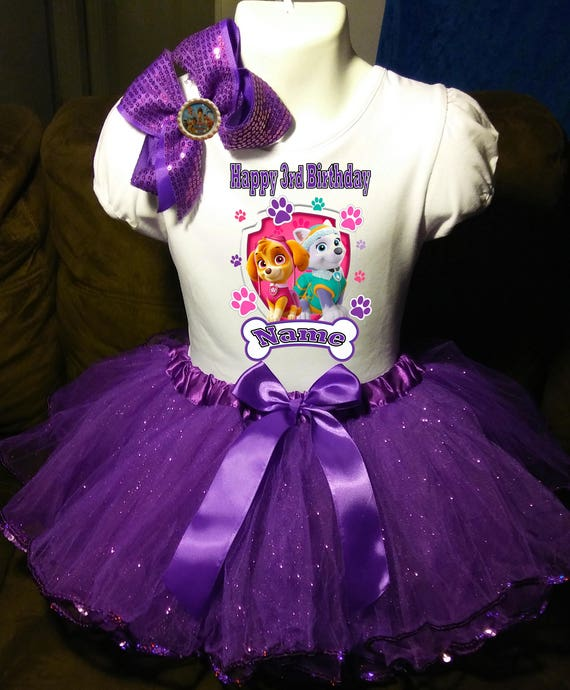 Paw Patrol ***With NAME***3rd Third Birthday Tutu Purple Dress Fast Shipping