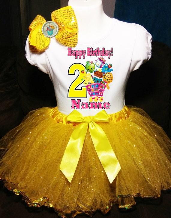 Shopkins NAME+Second 2nd 2 Birthday Shirt Personalized Pink Tutu Dress