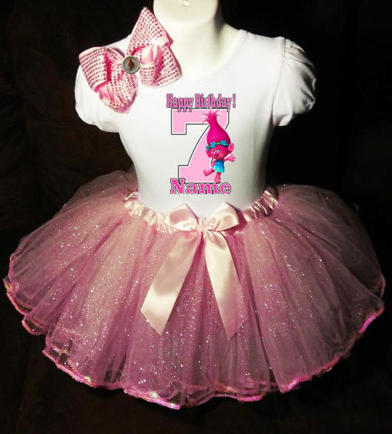 +NAME+ Trolls Poppy Dress 7th Seventh 7 birthday Shirt  Personalized  2 Pc Tutu outfit PINK Fast shipping