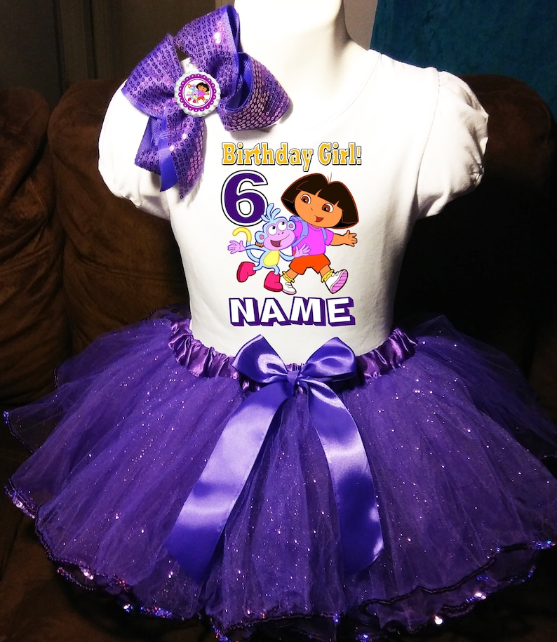 -With NAME- 1st Birthday Dress shirt 2pc Purple Tutu outfit Dora Party