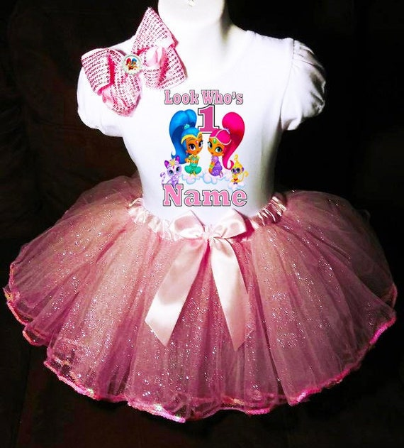 Shimmer And Shine First 1st 1 birthday Shirt Personalized Pink tutu dress NAME
