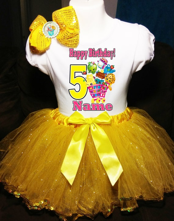 Shopkins 5th Fifth 5 Birthday ***With NAME*** Yellow Tutu Dress Fast Shipping