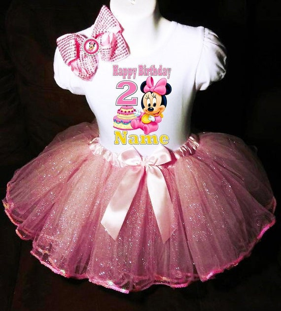 MINNIE MOUSE **With NAME** 2nd second 2 Birthday pink Tutu dress Fast Shipping