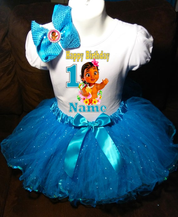 Moana Baby 1st first 1 Birthday ***With NAME*** Red Tutu Dress  Fast Shipping