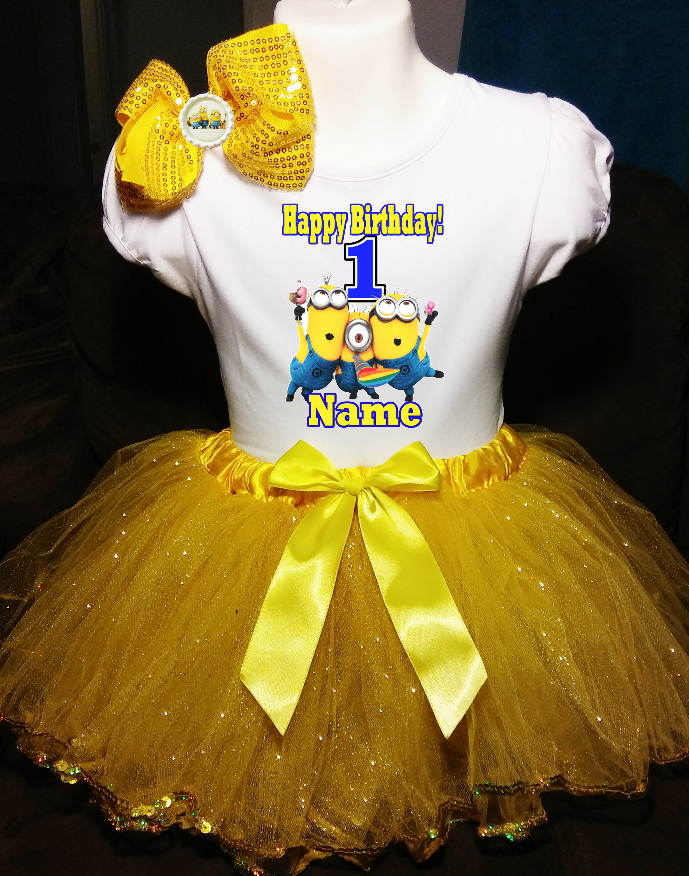 34a2a5a84 Minions Baby Dress NAME 1st First 1 Birthday Shirt | Etsy