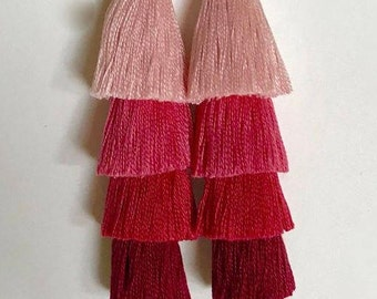 Four Tiered Pink Ombre Tassel Statement Earrings