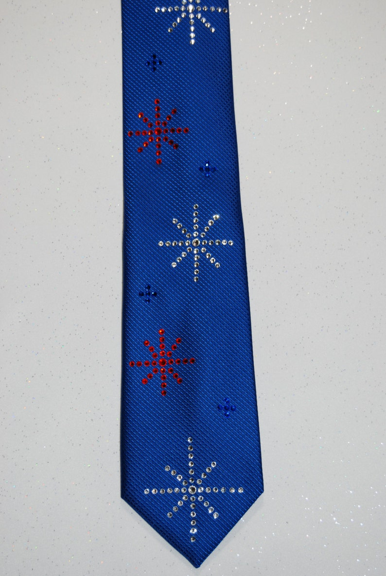 white and blue rhinestone necktie with hanky Red