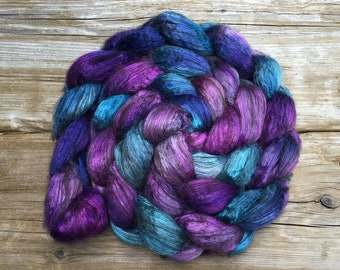 Tibetan Yak and Silk Hand Dyed for Spinning IANTHE - royal blue turquoise teal grape purple lilac plum soft and luxurious