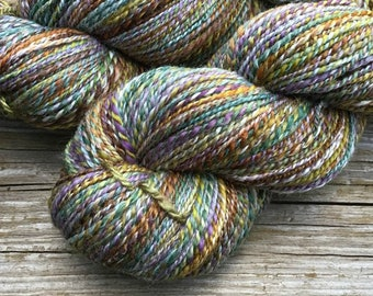 Hand Spun Hand Dyed 70/30 Merino Wool / Bamboo  2 ply DK yarn: TUSCAN FIELDS wedgewood blue chestnut copper white green mutli-colored lilac