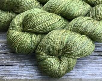Hand Dyed Superwash Merino Bamboo Nylon 70/20/10 sock yarn 115 gm 460 yds: SPROUT absinthe green olive khaki tan rust new growth spring