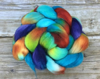 Organic Polwarth Wool hand dyed for spinning or felting - KOI POND turquoise green blue copper rust purple cobalt chartreuse