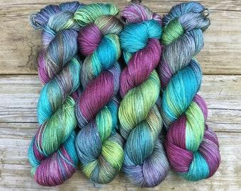 Hand Dyed Silk SW Merino Yarn 100 gms 438 yds: ROCK-A-HULA Shimmery Mulit-color Turquoise Magenta Leafy Misty Green Khaki Soft Luxury
