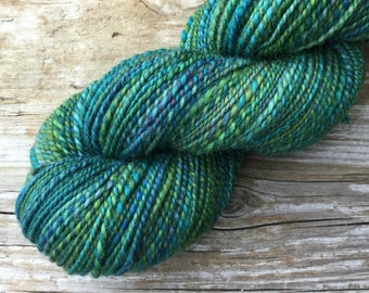 BFL Wool Hand Spun Hand Dyed Yarn: Pender Island Rich Blue Green Emerald Ocean shades of Teal Turquoise Forest Green