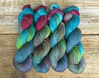Hand Dyed Merino Nylon Sock Yarn SW 100 gms 464 yds Rock-a-Hula Turquoise Cranberry Leafy Green Dusty Blue Bright Multi-colored