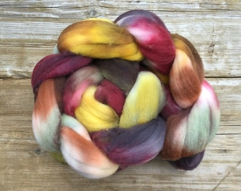 Superwash Targhee Wool Hand Dyed Spinning Fibre AGATE brown stone grey terra cotta green golden yellow muted earthy colours