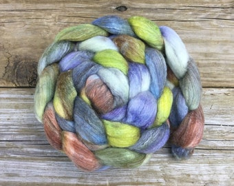 SW Merino Bamboo Nylon Roving Hand Dyed for Spinning - ALPINE MEADOW sky blue violet chestnut brown misty green white