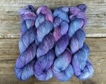 Hand Dyed Merino Silk with a Twist Fingering Yarn 100 gms 438 yds: FAITH Cornflower Blue Purple Blue Lavender Lilac next to skin soft