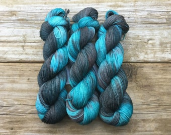 Hand Dyed Merino Nylon Sock Yarn SW 100 gms 464 yds North to Alaska turquoise teal forest gray brown blue glacier