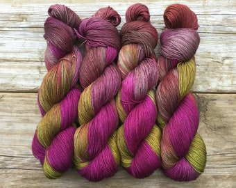 Hand Dyed Merino Nylon Sock Yarn SW 100 gms 464 yds Magnolia Hot Pink Fuchsia Olive Green Khaki Red Brown