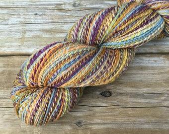 Merino Wool Hand Spun Hand Dyed 2 ply Yarn 4.2 oz 450 y: TWIGGY papaya orange grey blue deep purple lavender ginger marmalade '60s shades