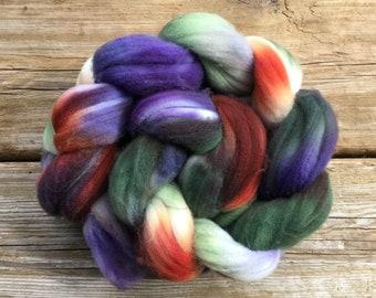 Superwash Targhee Wool Hand Dyed Spinning Fibre - Meadow Ridge forest green lupin purple indian paintbrush orange grape