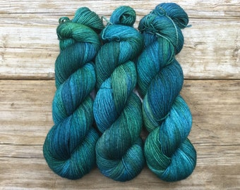 Hand Dyed Merino Nylon Sock Yarn SW 100 gms 464 yds Earth Day Teal Turquoise Forest Green Ocean Blue