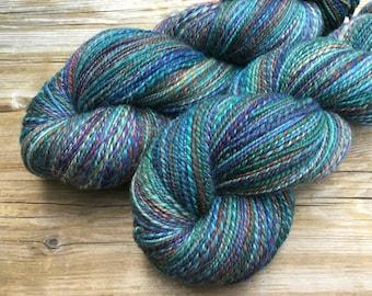 Hand Spun Hand Dyed SW Merino Nylon fingering / sock 2 ply yarn: STRATOSPHERE blue teal turquoise rust purple green sky hand spun sock yarn