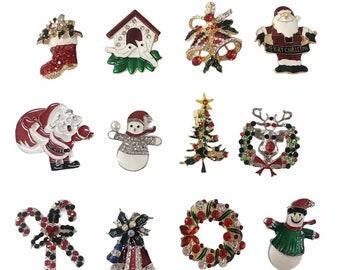 Set of 12 Christmas Brooch Pin Lot/ Holiday Brooch / Christmas Tree / Snowman / Christmas DIY / Party Favor / Rhinestone Christmas