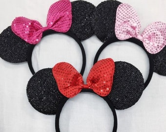 Sparkle Minnie Mouse LARGE Bow Ears Headband / Minnie Inspired Princess Ears / Disney Ears Headband / Pink/Red Minnie Headband/ Disney Party