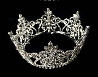 Rhinestone Crown for Bride   Prom Queen   Wedding Cake   Photography Prop   Full  Crown Tiara   Wedding Decor   Table Setting 2.5