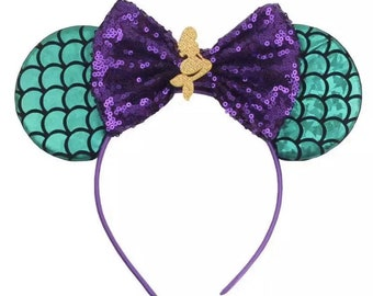 Disney/'s Little Mermaid Inspired Mickey Mouse Ears Headband mywas f