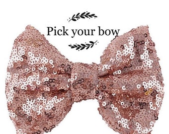 Pink hair bow,rose gold bow rose gold glitter bow star bow large bow oversized bow