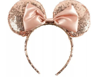 76ee1fedcbb4a Rose Gold Sequin Mickey Minnie Ears   Rose Gold Minnie Mouse Ears   Rose  Gold Headband   Disney Ears   Rose Gold Wedding Minnie Ears