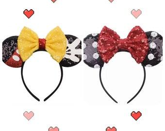 Mickey minnie mouse ears headband / minnie inpried princess ears / disney ears headband /Minnie headband/ Disney party/ cosplay headband