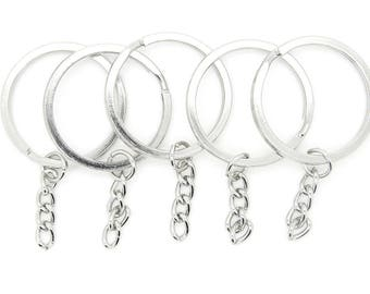 "12 /50 Keychain ring 32mm 1-1/4"" 1.25""  with Extension Chain, Rhodium Plated Split Key Ring, Thicken Key Clasp, keychain fob,"