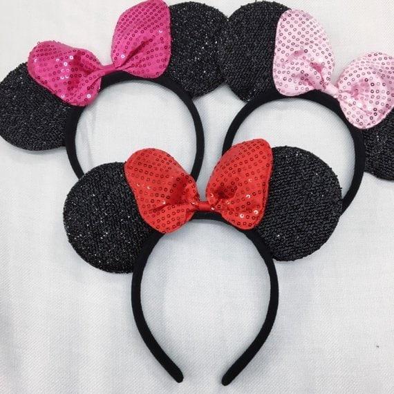 Cute Hot Pink Princess Bow inspired Black Sparkle Minnie Mouse Headband Ears