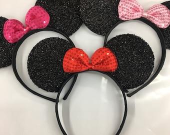 HOLIDAY SALE! Sparkle Minnie Mouse Ears Headband / Minnie Inspired Ears / Disney Ears Headband / Pink Red Minnie Headband