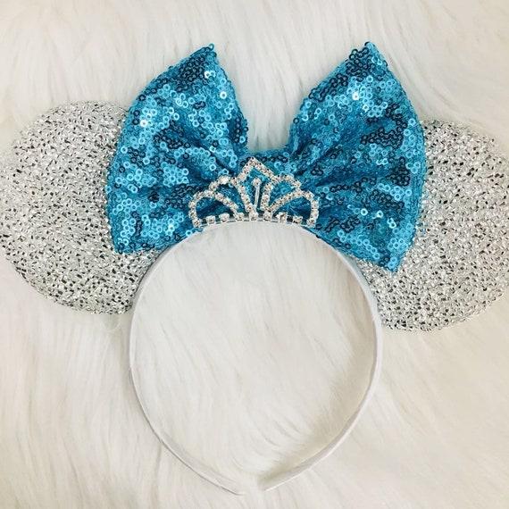Cinderella inspired Silver Minnie Mouse Ears Headband/ blue Mickey Mouse Ears Princess Ears Cinderella Halloween costume/Blue Minnie Ears