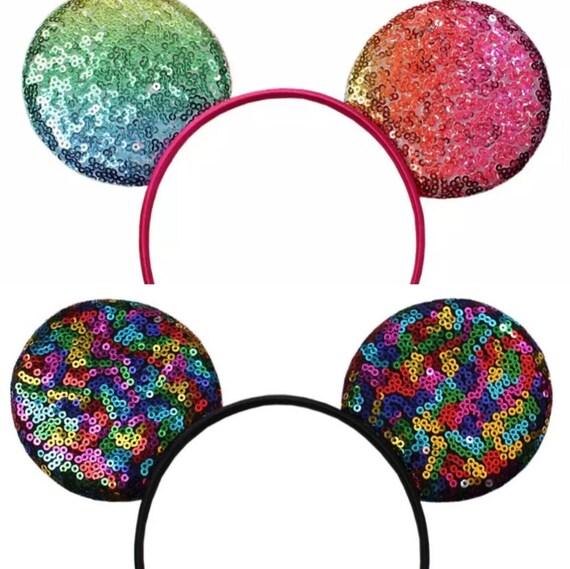 Rainbow Sparkly Diy Mouse Ears Rainbow Sequin Diy Mouse Ears Diy Minnie Ears Minnie Mouse Headband Sparkle Headband Make Your Own