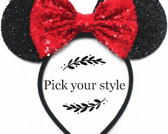Red Mickey Minnie Mouse Ears, Rose Gold Ears, Halloween Mouse Ears, Blue Purple Silver Gold Rainbow Sequin Bow, Bachelorette Party Headband