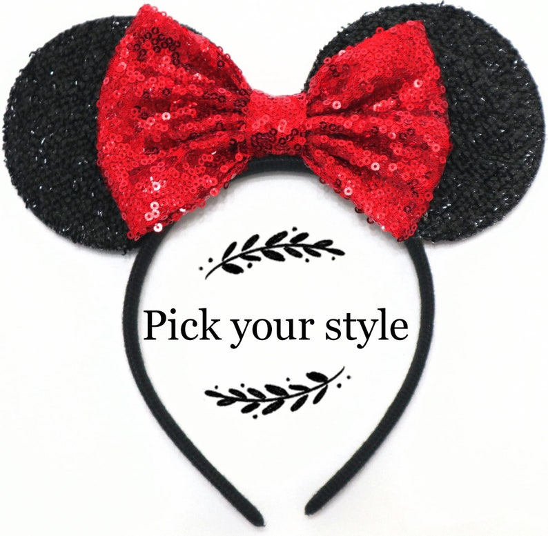 Red Mickey Minnie Mouse Ears Rose Gold Ears Halloween Mouse image 0