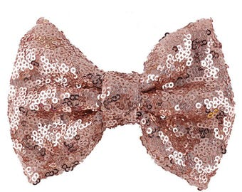 Large 5 inches Rose gold Sequin Bows,Gold sequin bow large Glitter Bow, Shiny Bows, Fabric Bows,DIY Bows,Wholesale Bows/ NO CLIPS