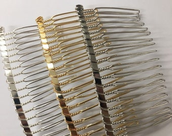 Set of 12pc Metal Silver Gold 20 Teeth Hair Comb Fascinato Supplies 3 Inches Long; DIY Bridal Hair Comb / Wire Comb / Hair Comb Supplies