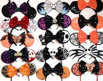 Halloween Jack Minnie Mouse Ears, Cosplay villans evil queen Mickey Minnie ears, nightmare before Christmas ears.  Halloween Mickey Ears