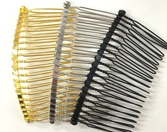 Set of 12 pc metal silver gold black blank hair comb fascinato supplies 3 inches long; diy bridal hair comb /Wire Comb|Hair Comb Supplies