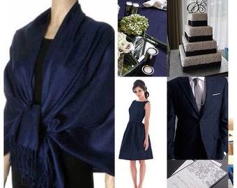 Navy blue pashmina scarf shawl / personalized initial shawl / bridesmaid shawl / wedding favor / spring summer wedding /